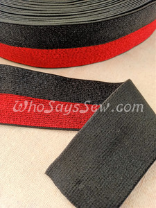 """4cm (1.5"""") Wide SUPER Soft Black and Red DUO-STRIPE Sparkly Waistband Elastic- By the Metre"""