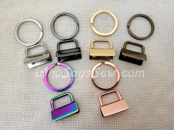"""*BULK 50 SETS* 2.5cm(1"""") Key Fob Metal Ends Hardware. Rainbow Iridescent, Silver, Gunmetal, Rose Gold, Gunmetal and Real Gold. High Quality. With Split Rings."""