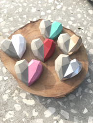 Mini geo hearts in a range of colours.