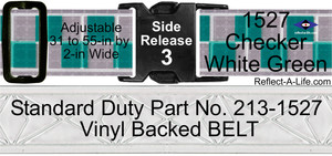 Belt Checker White Green Standard Duty 2in Side Release Buckle Bright