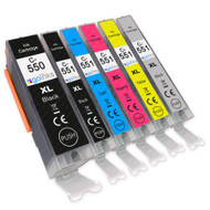 1 Go Inks Set of 6 Ink Cartridges to replace Canon PGI-550 & CLI-551 Compatible / non-OEM for PIXMA Printers (6 Pack)