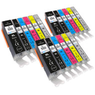3 Go Inks Set of 6 Ink Cartridges to replace Canon PGI-550 & CLI-551 Compatible / non-OEM for PIXMA Printers (18 Pack)