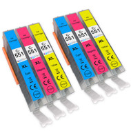 2 Go Inks C/M/Y Set of 3 Ink Cartridges to replace Canon CLI-551 Compatible / non-OEM for PIXMA Printers (6 Pack)