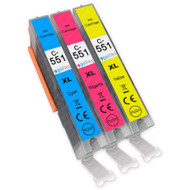 1 Go Inks C/M/Y Set of 3 Ink Cartridges to replace Canon CLI-551 Compatible / non-OEM for PIXMA Printers (3 Pack)