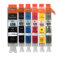 1 Go Inks Set of 6 Ink Cartridges to replace Canon PGI-570 & CLI-571 Compatible / non-OEM for PIXMA Printers (6 Pack)