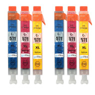 2 Go Inks C/M/Y Set of 3 Ink Cartridges to replace Canon CLI-571 Compatible / non-OEM for PIXMA Printers (6 Pack)
