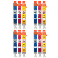 4 Go Inks C/M/Y Set of 3 Ink Cartridges to replce Canon CLI-571 Compatible / non-OEM for PIXMA Printers (12 Pack)