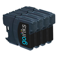 4 Go Inks Black Ink Cartridges to replace Brother LC985Bk Compatible / non-OEM for Brother DCP & MFC  Printers