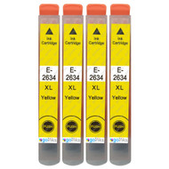 4 Go Inks Yellow Ink Cartridges to replace Epson T2634 (26XL Series) Compatible / non-OEM for Epson Expression Premium Printers