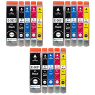 3 Go Inks Set of 5 Ink Cartridges to replace Epson T2636 (26XL Series) Compatible / non-OEM for Epson Expression Premium Printers (15 Inks)