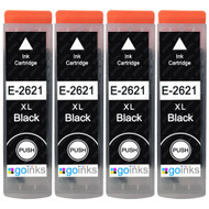 4 Go Inks Black Ink Cartridges to replace Epson T2621 (26XL Series) Compatible / non-OEM for Epson Expression Premium Printers