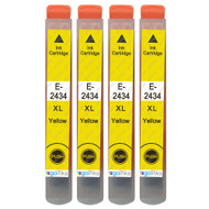 4 Go Inks Yellow Ink Cartridges to replace Epson T2434 (24XL Series) Compatible / non-OEM for Epson Expression Photo Printers