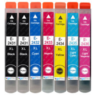 1 Go Inks Set of 6 + extra Black Ink Cartridges to replace Epson T2438+T2431 (24XL Series) Compatible / non-OEM for Epson Workforce Printers (7 Inks)