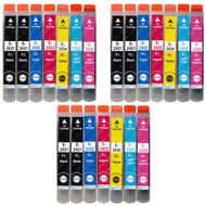3 Go Inks Set of 6 + extra Black Ink Cartridges to replace Epson T2438+T2431 (24XL Series) Compatible / non-OEM for Epson Workforce Printers (21 Inks)