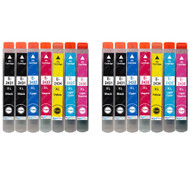 2 Go Inks Set of 6 + extra Black Ink Cartridges to replace Epson T2438+T2431 (24XL Series) Compatible / non-OEM for Epson Workforce Printers (14 Inks)