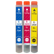 1 Go Inks Set of 3 Ink Cartridges to replace Epson T2438 (24XL Series) C/M/Y Compatible / non-OEM for Epson Workforce Printers (3 Inks)