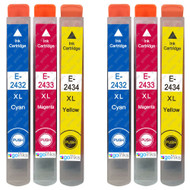 2 Go Inks Set of 3 Ink Cartridges to replace Epson T2438 (24XL Series) C/M/Y Compatible / non-OEM for Epson Workforce Printers (6 Inks)