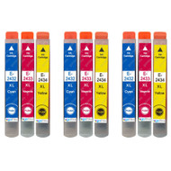 3 Go Inks Set of 3 Ink Cartridges to replace Epson T2438 (24XL Series) C/M/Y Compatible / non-OEM for Epson Workforce Printers (9 Inks)