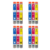 4 Go Inks Set of 3 Ink Cartridges to replace Epson T2438 (24XL Series) C/M/Y Compatible / non-OEM for Epson Workforce Printers (12 Inks)