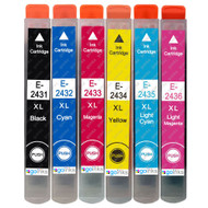 1 Go Inks Set of 6 Ink Cartridges to replace Epson T2438 (24XL Series) Series Compatible / non-OEM for Epson Workforce Printers (6 Inks)