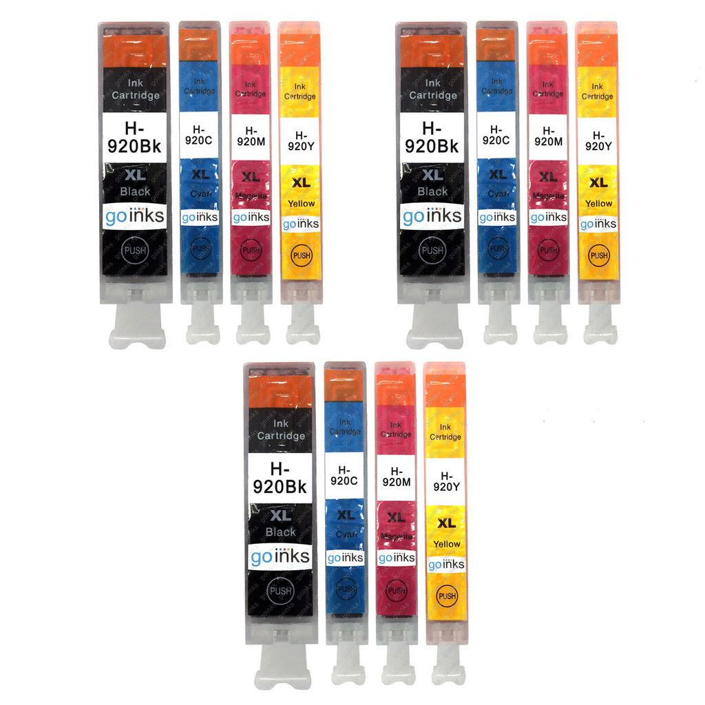 3 Go Inks Compatible Set of 4 to replace HP 920 Printer Ink Cartridge (12  Inks) - Black, Cyan, Magenta, Yellow Compatible / non-OEM for HP Photosmart