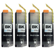 4 Go Inks Black Ink Cartridges to replace Brother LC123XLBk Compatible / non-OEM for Brother DCP & MFC Printers