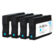 4 Go Inks Cyan Compatible Printer Ink Cartridges to replace HP 951C (XL Capacity) Compatible / non-OEM for HP Photosmart Printers