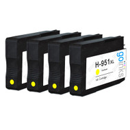 4 Go Inks Yellow Compatible Printer Ink Cartridges to replace HP 951Y (XL Capacity) Compatible / non-OEM for HP Photosmart Printers
