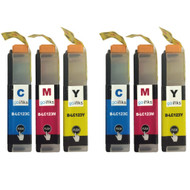 2 Go Inks Set of 3 C/M/Y Ink Cartridges to replace Brother LC123 Compatible / non-OEM for Brothe DCP & MFC Printers  (6 Inks)