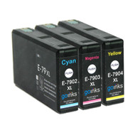 1 Go Inks Set of 3 Ink Cartridges to replace Epson T7906 (79XL Series) C/M/Y Compatible / non-OEM for Epson WorkForce Pro Printers  (3 Inks)