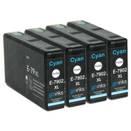 4 Go Inks Cyan Ink Cartridges to replace Epson T7902 (79XL Series) Compatible / non-OEM for Epson WorkForce Pro Printers