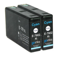2 Go Inks Cyan Ink Cartridges to replace Epson T7902 (79XL Series) Compatible / non-OEM for Epson WorkForce Pro Printers