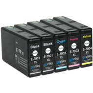 1 Go Inks Set of 4 + extra Black Ink Cartridges to replace Epson T7906+7901 (79XL Series) Compatible / non-OEM for Epson WorkForce Pro Printers (5 Inks)