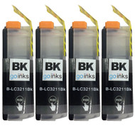 4 Go Inks Black Ink Cartridges to replace Brother LC3211BK Compatible / non-OEM for Brother DCP & MFC Printers