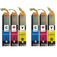 2 Go Inks Set of 3 C/M/Y Ink Cartridges to replace Brother LC3211 Compatible / non-OEM for Brother DCP & MFC Printers (6 Inks)