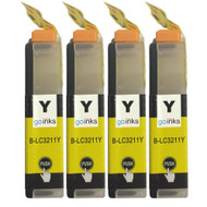 4 Go Inks Yellow Ink Cartridges to replace Brother LC3211Y Compatible / non-OEM for Brother DCP & MFC Printers