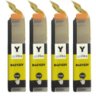 4 Go Inks Yellow Ink Cartridges to replace Brother LC123Y Compatible / non-OEM for Brother DCP & MFC Printers