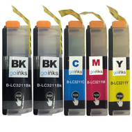 1 Go Inks Compatible Set of 4 + Extra Black to replace Brother LC3211 Compatible / non-OEM for Brother DCP & MFC Printers (5 Inks)