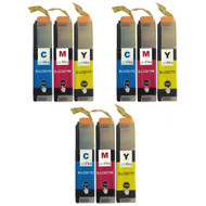 3 Go Inks Set of 3 C/M/Y Ink Cartridges to replace Brother LC3217 Compatible / non-OEM for Brother MFC Printers (9 Inks)