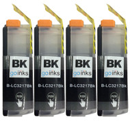 4 Go Inks Black Ink Cartridges to replace Brother LC3217BK Compatible / non-OEM for Brother MFC Printers