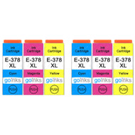 2 Go Inks Set of 3 Ink Cartridges to replace Epson 378XL C/M/Y Compatible / non-OEM for Epson Expression Photo Printers (6 Inks)