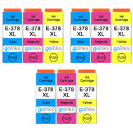 3 Go Inks Set of 3 Ink Cartridges to replace Epson 378XL C/M/Y Compatible / non-OEM for Epson Expression Photo Printers (9 Inks)