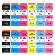2 Go Inks Set of 6 Ink Cartridges to replace Epson 378XL (Bk/C/M/Y/LC/LM) Compatible / non-OEM for Epson Expression Photo Printers (12 Inks)