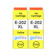 2 Go Inks Yellow Ink Cartridges to replace Epson 202XLY Compatible / non-OEM for Epson Expression Photo Printers