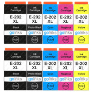 2 Go Inks Set of 5 Ink Cartridges to replace Epson 202XL Compatible / non-OEM for Epson Expression Photo Printers (10 Inks)