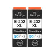 2 Go Inks Photo Black Ink Cartridges to replace Epson 202XLPBk Compatible / non-OEM for Epson Expression Photo Printers