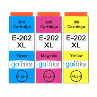1 Go Inks Set of 3 Ink Cartridges to replace Epson 202XL C/M/Y Compatible / non-OEM for Epson Expression Photo Printers (3 Inks)