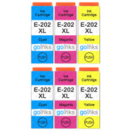 2 Go Inks Set of 3 Ink Cartridges to replace Epson 202XL C/M/Y Compatible / non-OEM for Epson Expression Photo Printers (6 Inks)