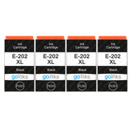 4 Go Inks Black Ink Cartridges to replace Epson 202XLBk Compatible / non-OEM for Epson Expression Photo Printers