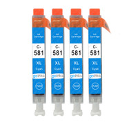 4 Go Inks Cyan Ink Cartridges to replace Canon CLI-581C Compatible / non-OEM for PIXMA Printers